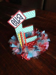 SuperDuper Embellished Letter Centerpiece by WhatchawantDesign, $40.00