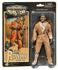 "Ronmy - Presidential Monsters - Ronald Reagan as the Mummy - 8 1/4"" tall fully poseable action figure with cloth costume by Heroes In Action. $22.99. Real cloth outfit. 8 inch scale figure. Hilarious likeness to famous President. Multiple points of articulation. Blister card packaging with artwork. 8 1/2"" tall fully poseable action figure with cloth removeable costume and plastic accessories"