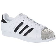 Adidas Originals Metal Toe Superstar Sneakers (£90) ❤ liked on Polyvore featuring shoes, sneakers, chunky sneakers, 80s sneakers, white trainers, metallic shoes and adidas originals shoes