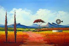 Pieter van Heerden - Colourful Landscape - 400 x 300 Farm Paintings, African Paintings, Canvas Paintings, Landscape Art, Landscape Paintings, Windmill Art, Canvas Painting Projects, Artist Painting, Painting Styles