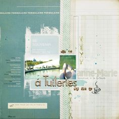 I like how the photos' colours are mirrored in the background papers. Page by Anna Maria Wolniak