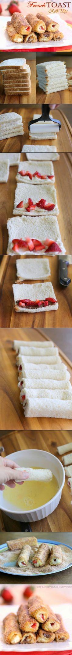 8 tranches de pain de mie, fromage frais ou nutella, fruits, 2 oeufs, 3 cc de lait, 1/3 cup sucre, un peu de canelle, beurre...