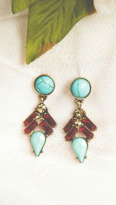 Blue Marble And Burgundy Statement Earrings 13,90 € #happinessbtq