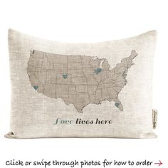 (X) Love Lives Here Customized Map Pillow Cotton Canvas Gift Personalized Gifts For Grandparents, Grandparent Gifts, Aunt Gifts, Grandma Gifts, Gifts For Family, Gifts For Mom, Grandmother Birthday, Love Cards, Love Gifts