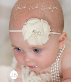 Ivory Baby Headband, Baby Headbands,Baby girl Headband,Newborn Headband,Headband, Baptism Headband,Christening headband ,Baby Hair Bows.