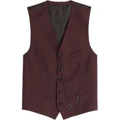 The Kooples Wool Vest ($265) ❤ liked on Polyvore featuring men's fashion, men's clothing, men's outerwear, men's vests and red