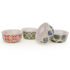 Signature Housewares 8-Piece Print 10 Microwave Storage Bowl Set * Click on the image for additional details.