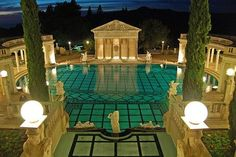 Hearst Castle Neptune Pool at night