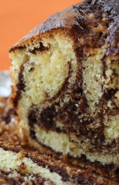 Marble Loaf Cake recipe from Jenny Jones (JennyCanCook.com) There's no butter in this moist, healthy, lightly sweet chocolate-orange marble cake made with extra light olive oil, and fresh orange peel. #JennyCanCook