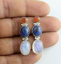 natural lapis Carnelian rainbow moonstone earrings 925 Sterling Silver Jewelry #Unbranded #beautiful  #SilverJewelry