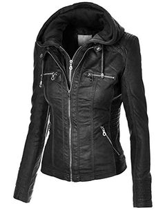 Lock and Love Women's Removable Hoodie Motorcyle Jacket XS CAMEL
