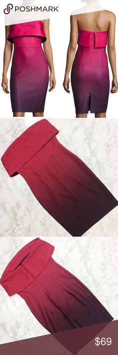 NWT Romeo & Juliet Couture Strapless Dress NWT Romeo & Juliet Couture ombre scuba dress with popover. Hidden zipper closure. Fully lined. Ombre goes from red to deep purple. Romeo & Juliet Couture Dresses Strapless