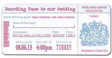 OVERSEAS - BEACH - ISLAND BOARDING PASS PASSPORT WEDDING INVITATION INVITE FUN!