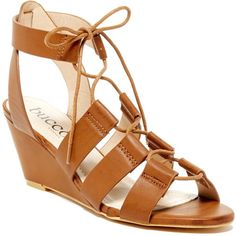 Bucco Oakies Wedge Sandal ($27) ❤ liked on Polyvore featuring shoes, sandals, cognac, bucco shoes, strappy lace up sandals, cognac wedge sandals, strappy wedge sandals and strappy sandals