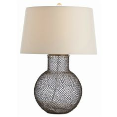 Pierce Antique Brass Chain-mail/Glass Lamp - Arteriors - $516.00 - domino.com  This would look super funky with a black or navy blue shade.