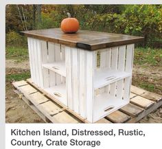 DIY Kitchen Island, Bar, Storage EtcYou can build this easily with 8 recycled creates, screwed together, some old pallet boards, sand the boards down to get rid of the roughness, stain and polyurethane. You have a beautiful in expensive show piece. Please don't for get to like and follow. Check out my other tips as well. Thanks