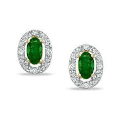 Emerald and Diamond Framed Earrings in 10K Gold