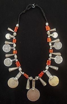 Morocco Silver cone pendants and antique coin in pendeloque