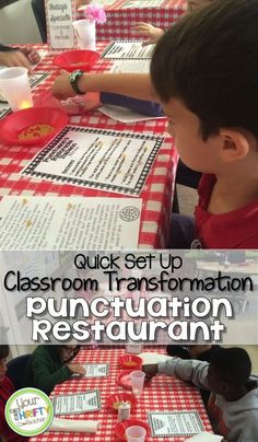 Restaurant: Engage your students with this quick, and easy to set up, classroom transformation. Come read about our Ristorante Punctuano. It was a great way to assess my students' understanding of the various ways to use a comma. Future Classroom, Classroom Themes, Classroom Activities, Classroom Organization, First Grade Writing, 4th Grade Reading, Teaching Grammar, Teaching Reading, Teaching Ideas
