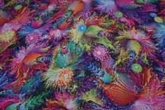 C6893 rainbow multicoloured floral flowers print silky satin fabric print Polyester Silk Touch dress making fabrics -  by the yard