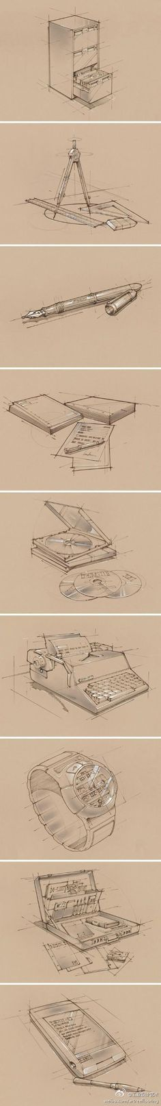 Sketch of office supplies - Industrial design sketches