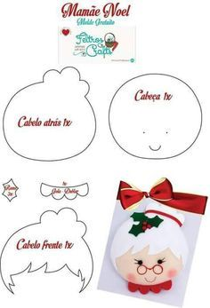 Renata's Little Things: Mama Noel in Felt . Felt Christmas Decorations, Felt Christmas Ornaments, Christmas Art, Christmas Projects, Felt Projects, Christmas Themes, Christmas Holidays, Felt Ornaments Patterns, Felt Crafts Patterns