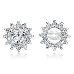 Enhance your solitaire earrings with these diamond earring jackets in 14k white gold. Solitaire earrings sold separately. | Caro74