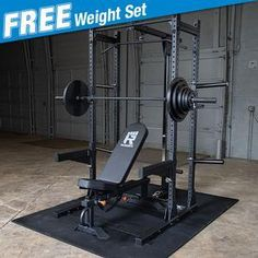 Rugged Power Rack Package with FREE Weight Set - Build Strength with the Half Rack with Extension, Lat, Incline bench, and floor mats Home Made Gym, Gym Room At Home, Commercial Fitness Equipment, No Equipment Workout, Free Weight Squats, Gym Rack, Crossfit Home Gym, Olympic Weight Set, Home Gym Machine