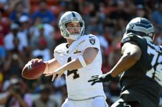 Jan 31, 2016; Honolulu, HI, USA; Team Rice quarterback Derek Carr of the Oakland Raiders (4) throws a pass during the 2016 Pro Bowl at Aloha Stadium. Mandatory Credit: Kirby Lee-USA TODAY Sports