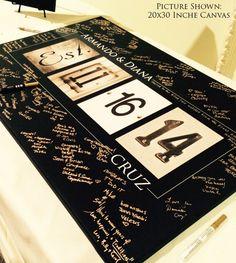 Wedding Guest Book Alternative // Wedding Guest Book Ideas // Custom Wedding Guest Book // Gallery Wrapped Canvas // Up to 24x36 Inches by alphabetcanvas on Etsy https://www.etsy.com/listing/159688324/wedding-guest-book-alternative-wedding