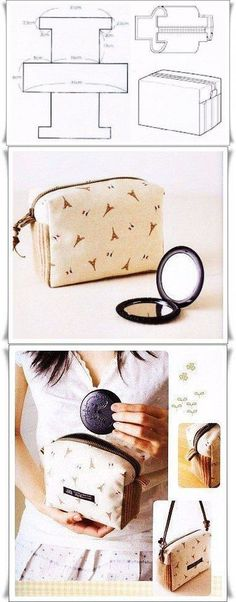 Interesting and quite unusual cosmetic bag pattern. Sewing Hacks, Sewing Tutorials, Sewing Patterns, Bag Patterns, Fabric Crafts, Sewing Crafts, Sewing Projects, Fashion Sewing, Diy Fashion