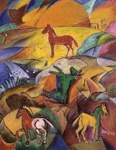 David Burliuk (1882 1967) | Cubo-Futurism | Sunrise on the Steppes - 1961
