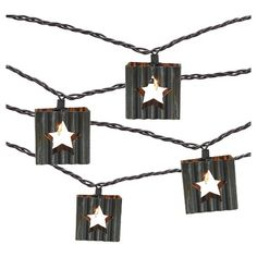 10 count Decorative String Lights - Corrugated Metal Star