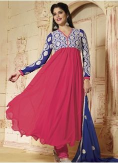 Blue And Pink Embroidery Work Georgette Anarkali Suit buy best designer sarees collections,Best Deals On Womens Wear online store, Best Deals On Anarkali salwar Kameez, End of Season Sale on Designer Dress Matirials and Kurti #dress #salwarkameez #cotton #designer #readymad #fancydress #Anarkali #Paiala #Punjabi #Casual #Long #Cotton #long #saree #designer #printedsaree #casualwear #casualstyle #casualsaree #silksarees
