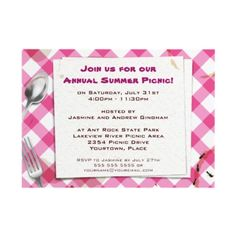 Capture the fun of a picnic or an outdoor BBQ with this fun party invitation. Customized text sits on top of a paper napkin against a pink gingham tablecloth. The meal is over and the remnants remain including beverage rings on the tablecloth and serviette. What's more is that the enemy of picnics, ants, are paying a visit. The gingham pattern is repeated on the reverse and more ants have come to scavenge.