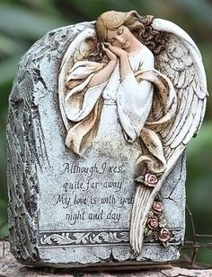 """9"""" Joseph's Studio Memorial Angel Outdoor Garden Stone by Roman. $24.99. From the Garden Statuary Collection by Joseph's Studio Item #62461Stone is inscribed with: """"Although I rest quite far away, My love is with you night and day""""Memorial stone has been meticulously crafted by master artisans, with great attention to color and detail Features a slightly weathered finishFor indoor/outdoor useDimensions: 9""""H x 6.5""""W x 3.25""""DMaterial(s): resin/stone mix. Save 17% Off!"""
