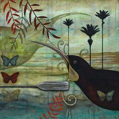 Huia's Guardian Canvas Art Print by Kathryn Furniss Art Maori, Canvas Art Prints, Fine Art Prints, Canvas Canvas, New Zealand Art, Nz Art, Art Portfolio, Bird Prints, Animal Paintings