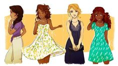 Piper Mclean, Hazel Levesque, Annabeth Chase, and Reyna