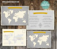 Bilingual Invitation and RSVP card - Two Countries, One Love, One Big Celebration - Wedding Invitation in greys and Yellow tones. $40.00, via Etsy.