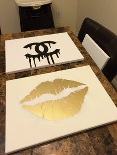 Makeupbyxtinaa : DIY Room Inspiration Chanel & Gold Lips Canvas Tutorial