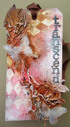 Create organic effects with gesso, embossing, masking tape, hot glue and inks