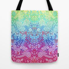 Fantasy Garden Rainbow Doodle Tote Bag