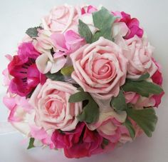 Pale Pink Rose & Anenome & Green Summer Country Garden Bridal Posy Wedding Bouquet Prom
