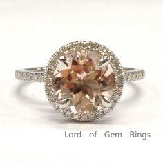 $479 Round Morganite Engagement Ring Pave Diamond Wedding 14K White Gold 8mm 4 Prongs