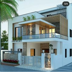 Exterior Design for morden house Modern Exterior House Designs, Modern Small House Design, Modern House Facades, Modern Architecture House, Modern House Plans, Modern Bungalow Exterior, Minimalist House Design, Building Architecture, Architecture Design