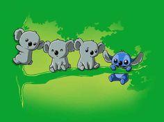 Koala Stitch T-Shit Tee Turtle