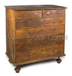 antique william and mary furniture | Chest of Drawers, William and Mary, Ball Foot, Circa 1730 to 1750