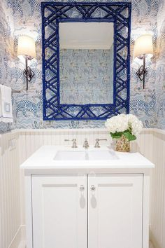 Bamboo Mirror We love how this mirror looks sitting over wallpaper. It's a great addition to a b Bathroom Niche, Bathroom Wallpaper, Modern Bathroom, Bathroom Ideas, Bathroom Organization, Beautiful Bathrooms, Minimal Bathroom, Bath Ideas, Wallpaper In Powder Room