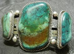 "Old Pawn Authentic Navajo Cuff Bracelet Old Turquoise Silver ""LTB"" It…"