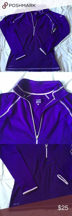 Nike Pro Dri Fit Purple 1/4 Zip Pull Over Nike Pro Dri Fit Purple 1/4 Zip Pull Over- size large- has thumb holes as well!   ----  All items are from a non-smoking home. Item is as described, feel free to ask questions.  I am a fast shipper with excellent ratings. I do bundle discounts and am open to trades.  Like this item? Check out the rest of my closet!  Thanks for looking! Nike Tops Sweatshirts & Hoodies